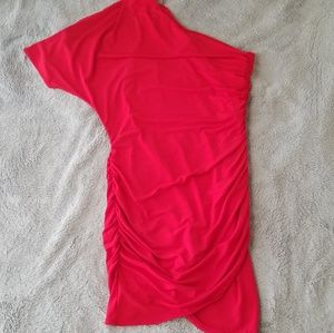 Red One Shoulder Fitted Mini Dress
